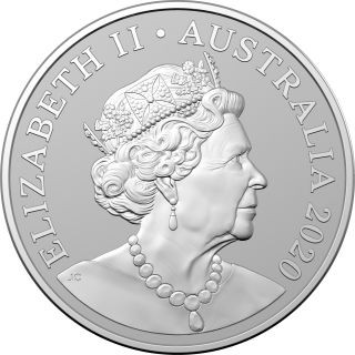Vorderseite:Australien : 1 Dollar Känguruh  1 oz Silver frosted  - in Kapsel  2020 Stgl.