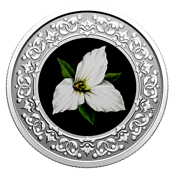 Vorderseite:Kanada : 3 Dollar Waldlilie/Ontario-Flor. Wahrzeichen #1  2020 PP