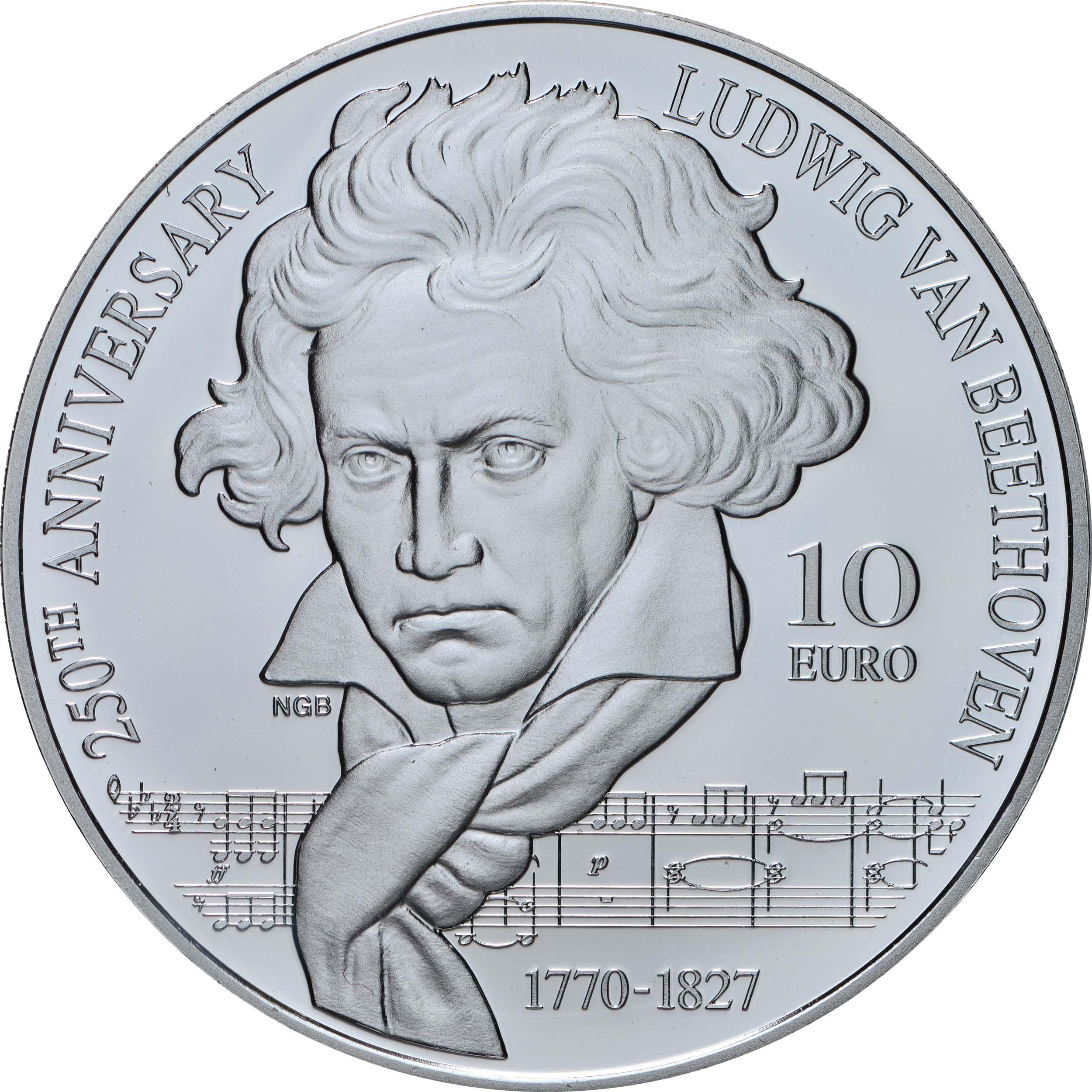 Vorderseite:Malta : 10 Euro 250. Geburtstag Beethoven  2020 PP