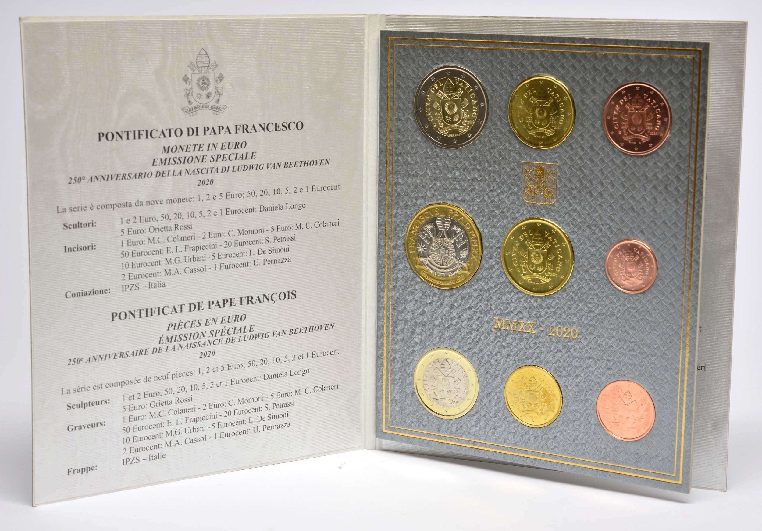 Lieferumfang:Vatikan : 8,88 Euro KMS Vatikan mit 5 Euro Beethoven  2020 Stgl.