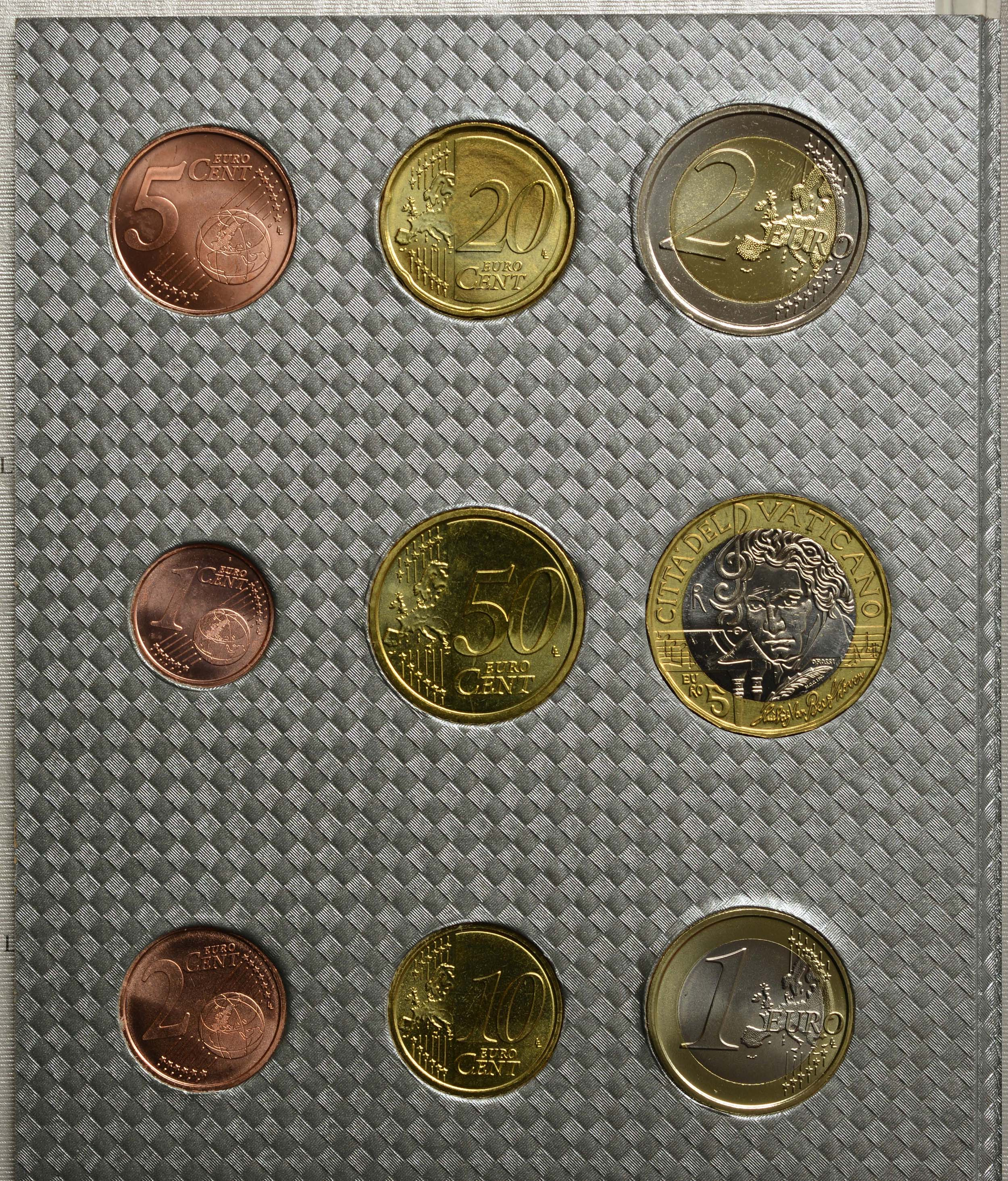 Vorderseite:Vatikan : 8,88 Euro KMS Vatikan mit 5 Euro Beethoven  2020 Stgl.