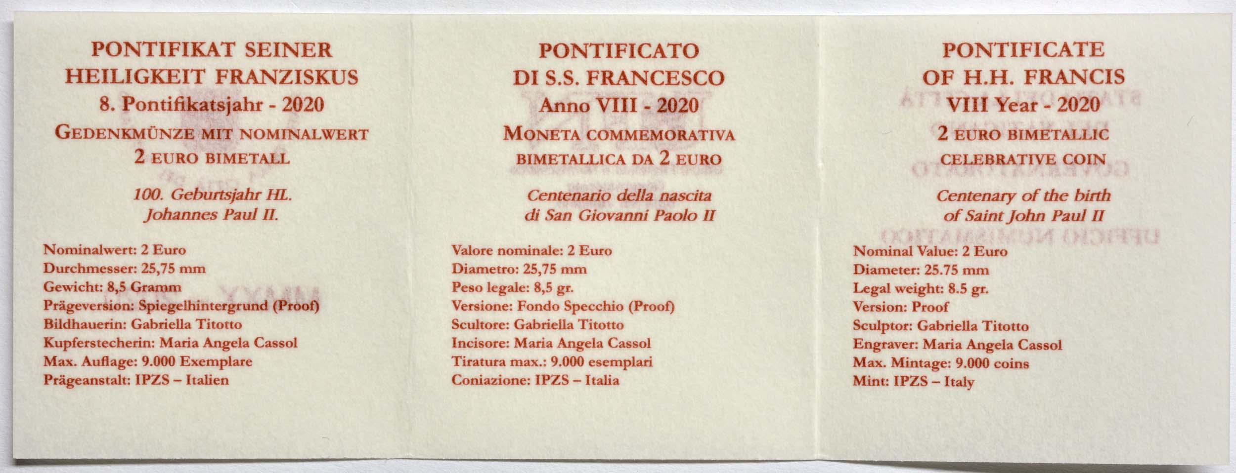 Zertifikat:Vatikan : 2 Euro 100. Geburtstag von Johannes Paul II.  2020 PP