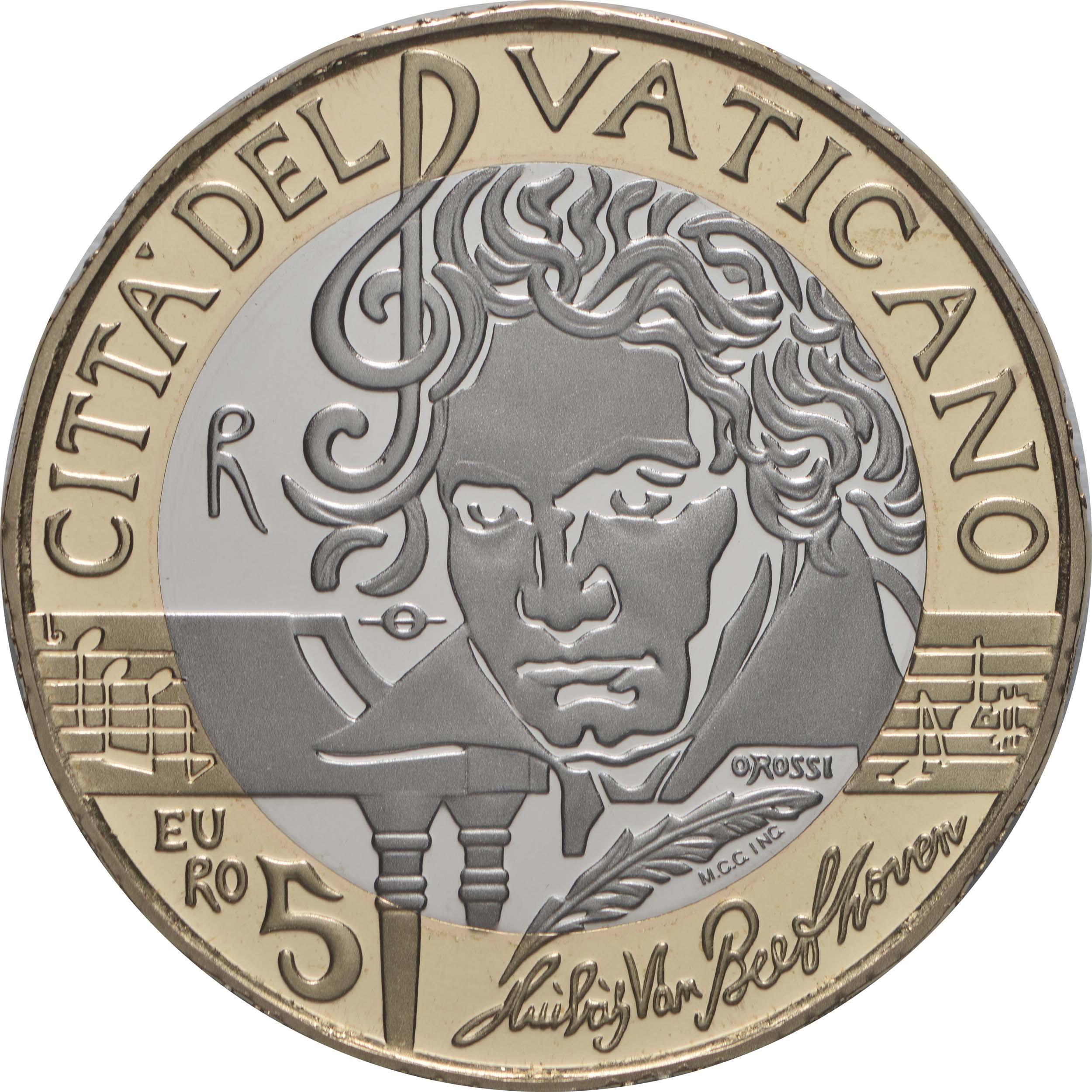 Vorderseite:Vatikan : 5 Euro 250. Geburtstag Beethoven  2020 PP