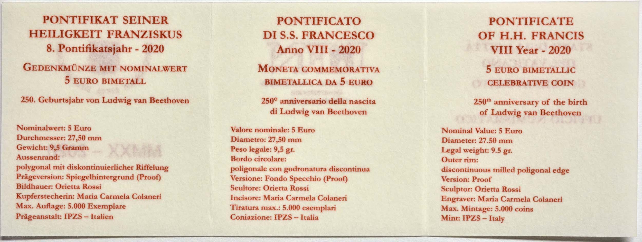 Zertifikat:Vatikan : 5 Euro 250. Geburtstag Beethoven  2020 PP