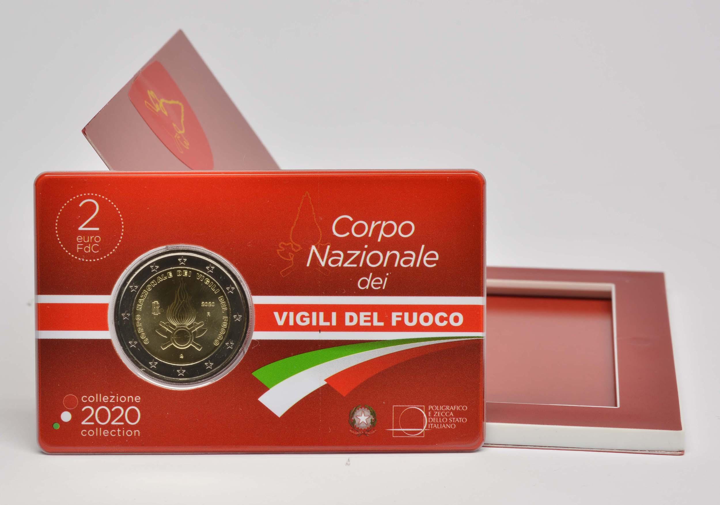 Lieferumfang:Italien : 2 Euro 80. Jahrestag der Gründung des Nationalen Feuerwehrkorps  2020 Stgl.