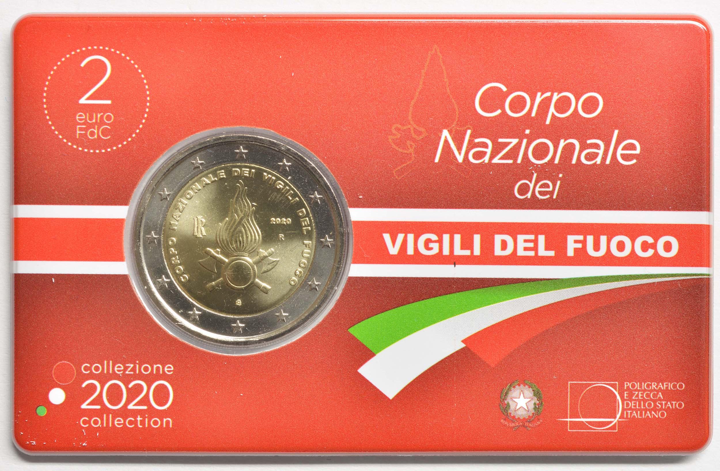 Vorderseite:Italien : 2 Euro 80. Jahrestag der Gründung des Nationalen Feuerwehrkorps  2020 Stgl.