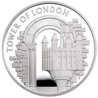 Vorderseite:Großbritannien : 5 Pfund Tower von London - White Tower Piedfort  2020 PP