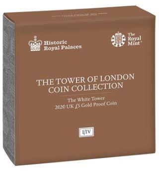 Rückseite:Großbritannien : 5 Pfund Tower von London - White Tower 1 oz  2020 PP