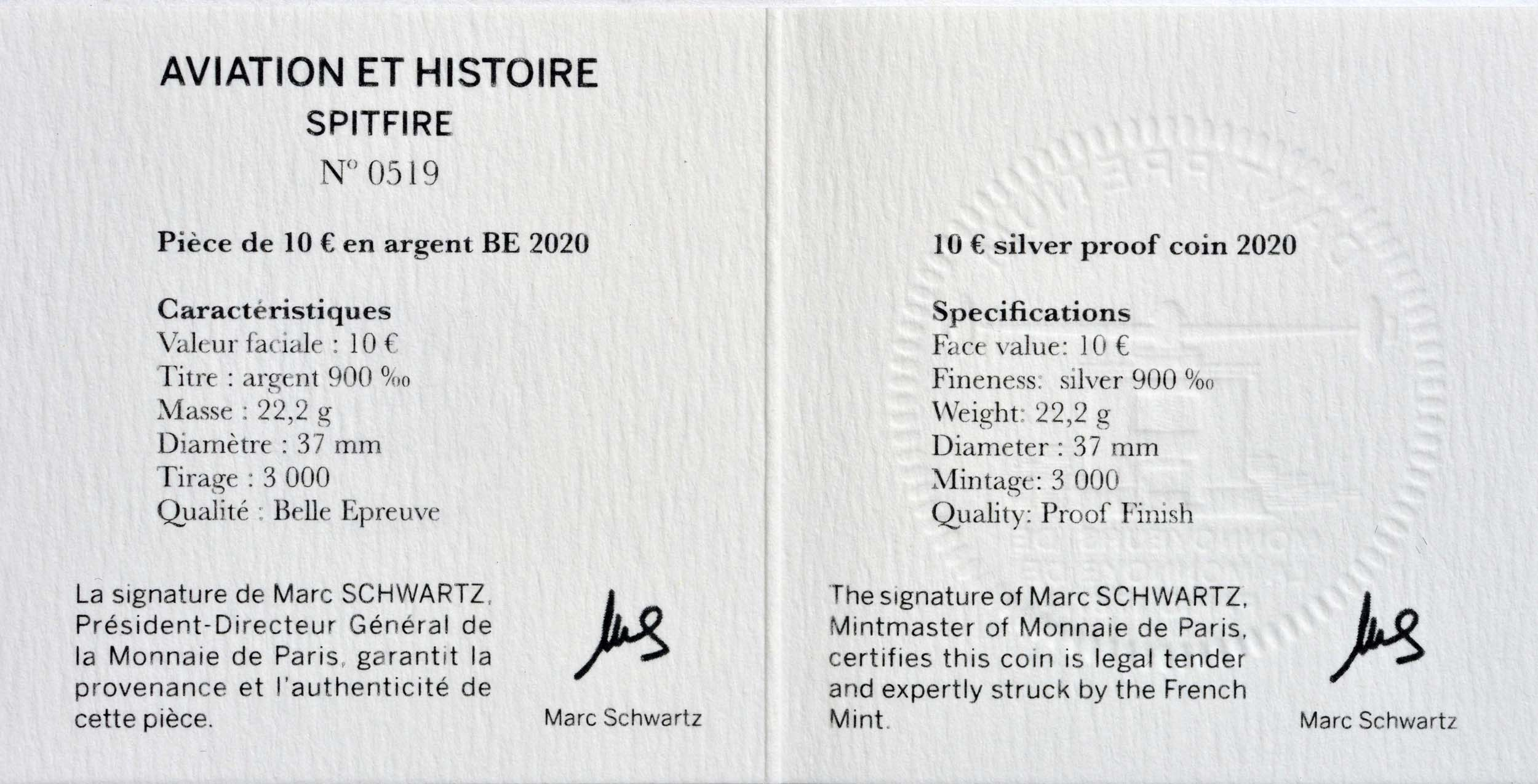 Zertifikat:Frankreich : 10 Euro Spitfire  2020 PP