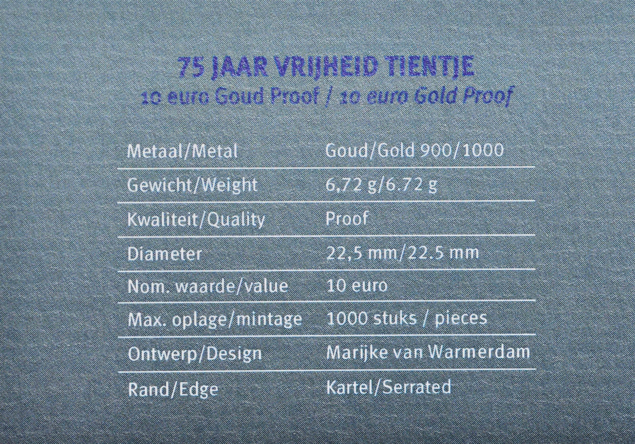 Zertifikat:Niederlande : 10 Euro 75 Jahre Ende 2. Weltkrieg  2020 PP