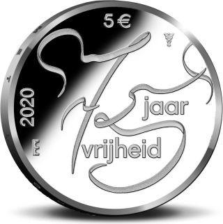 Vorderseite:Niederlande : 5 Euro Set aus 5 Euro NL, 1$ Kanda, 1 Pfund GB - 75 Jahre Ende 2. Weltkrieg  2020 PP