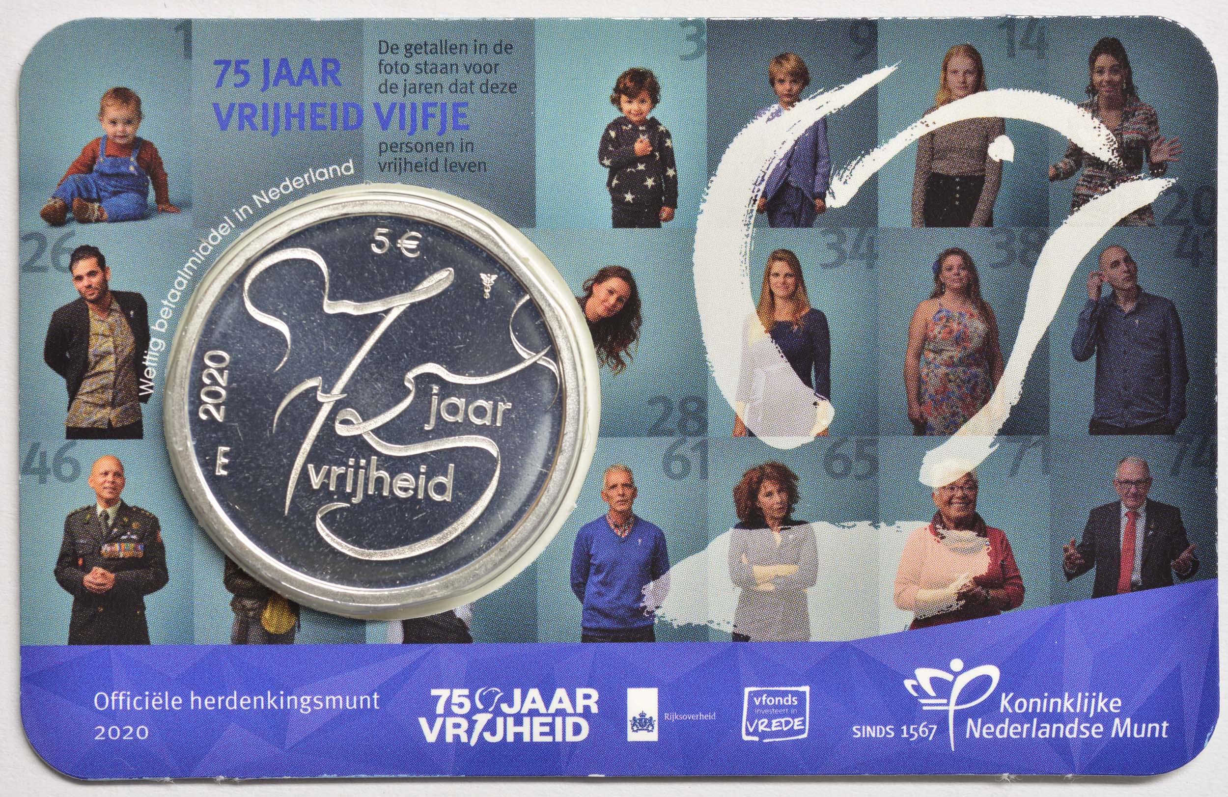 Lieferumfang:Niederlande : 5 Euro 75 Jahre Ende 2. Weltkrieg  2020 bfr