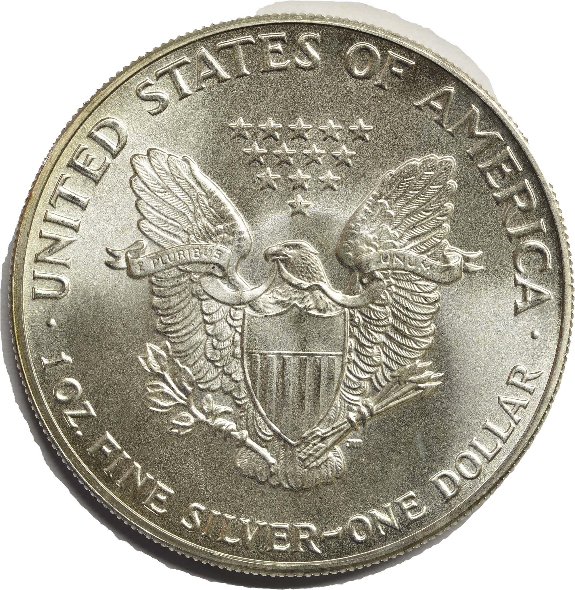 Rückseite:USA : 1 Dollar American Eagle  1986 bfr