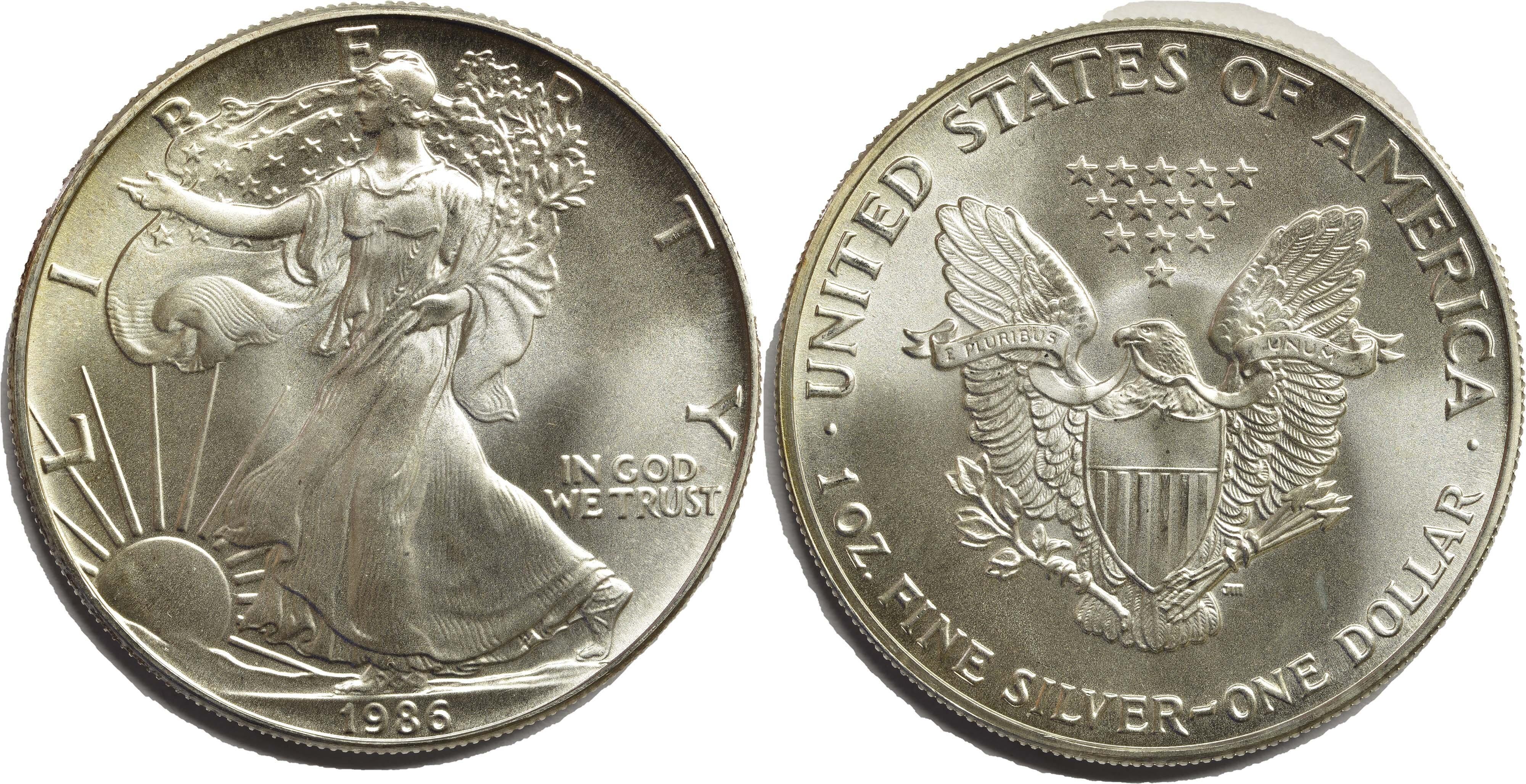 Lieferumfang:USA : 1 Dollar American Eagle  1986 bfr
