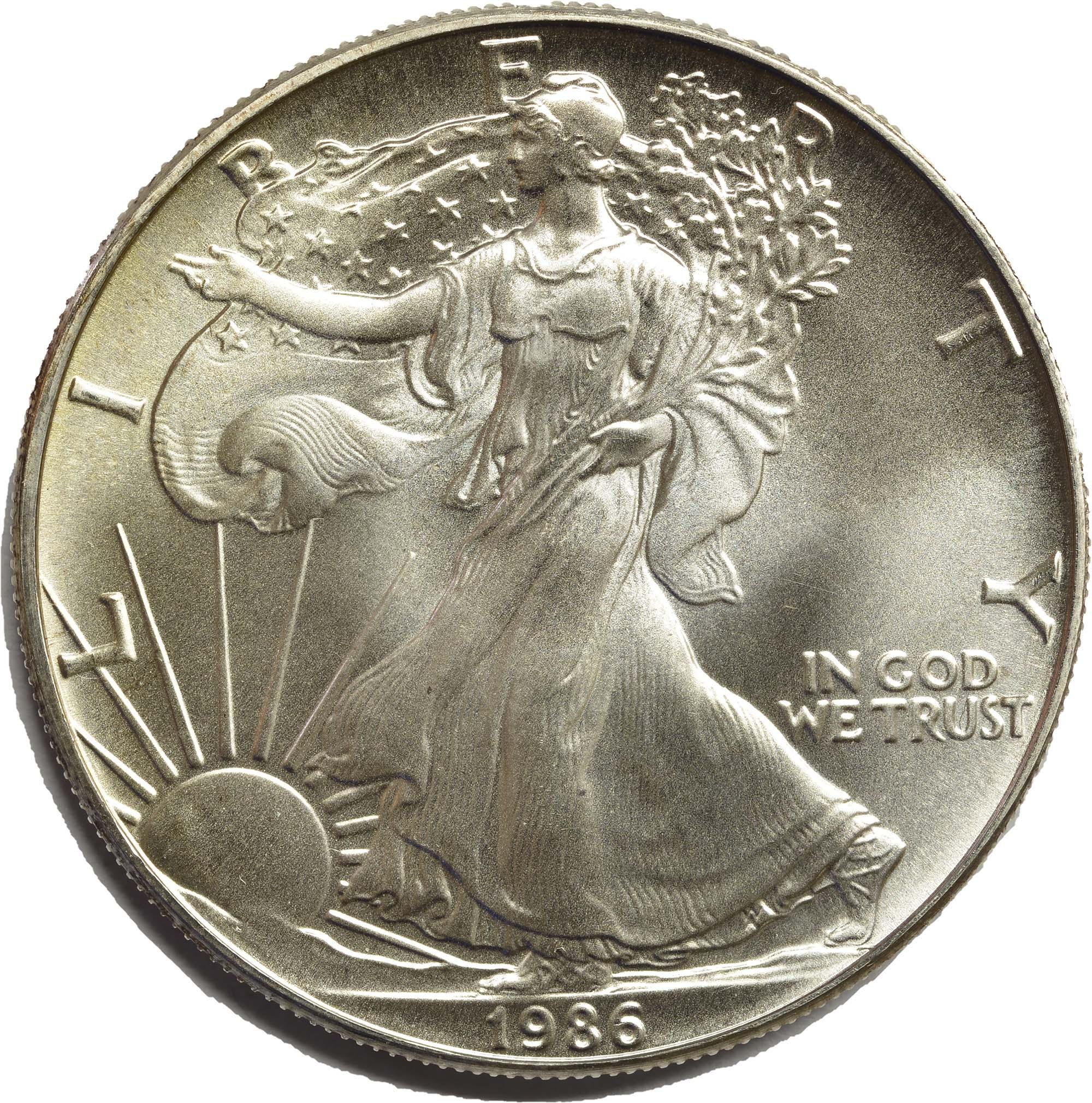 Vorderseite:USA : 1 Dollar American Eagle  1986 bfr