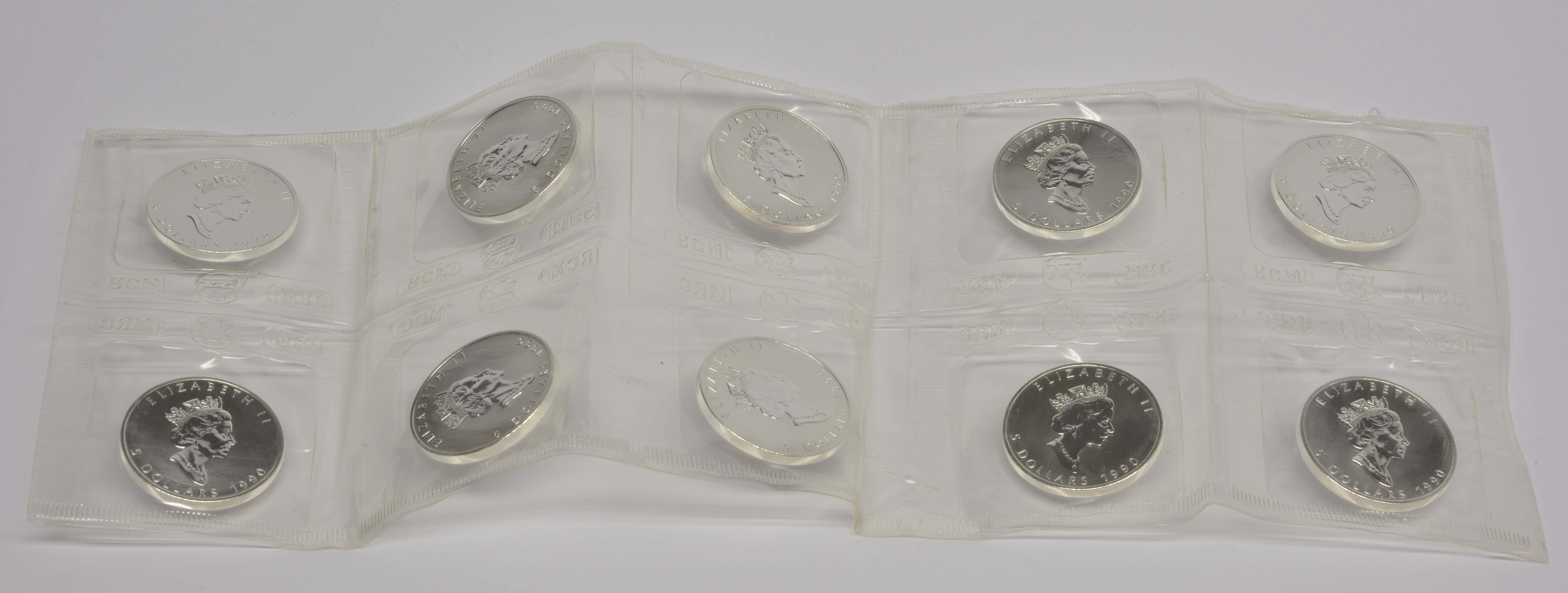 Rückseite:Kanada : 5 Dollar 10x Maple Leaf original verschweißt  1990 bfr