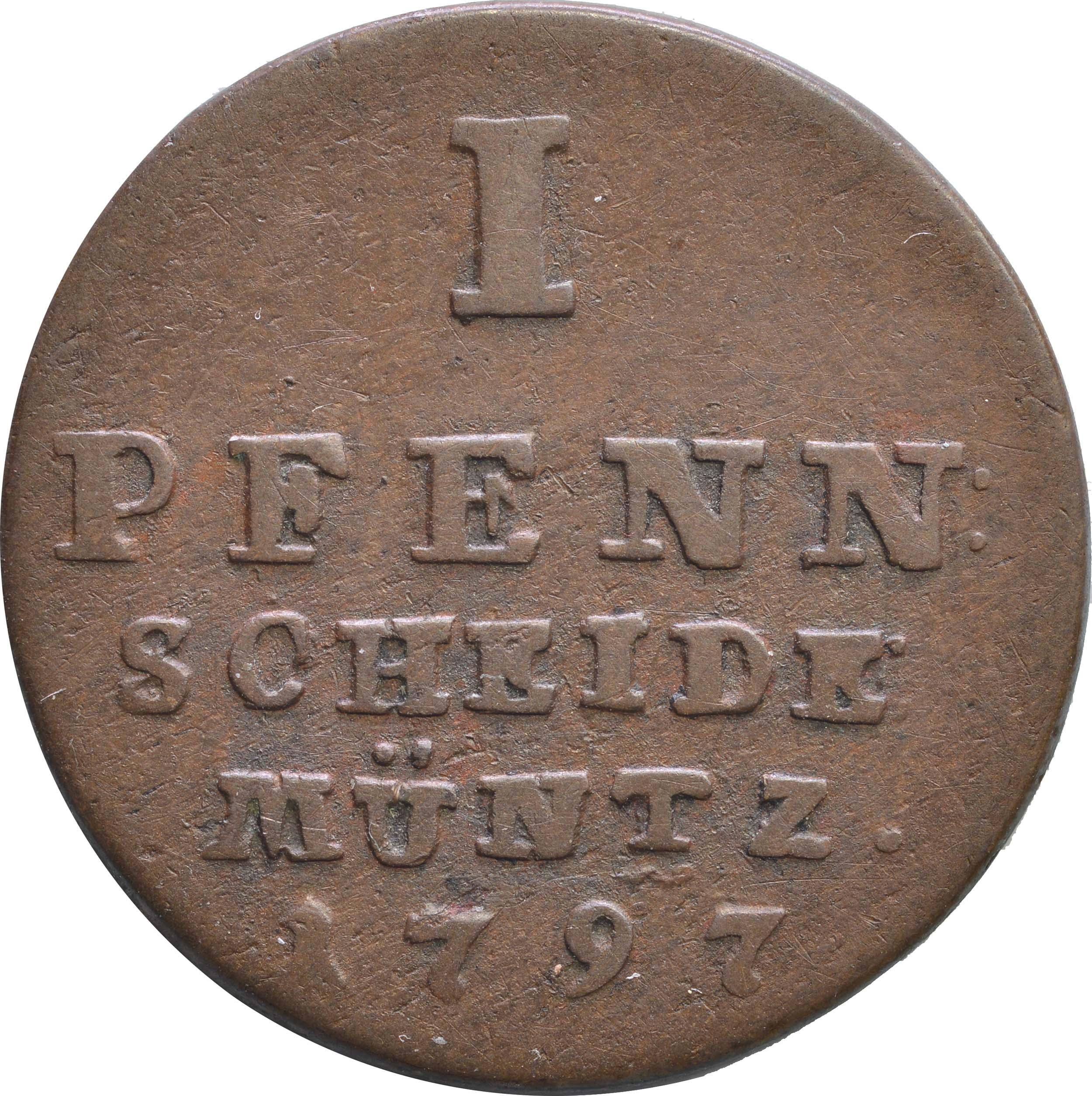 Vorderseite:Deutschland : 1 Pfennig   1797 ss.