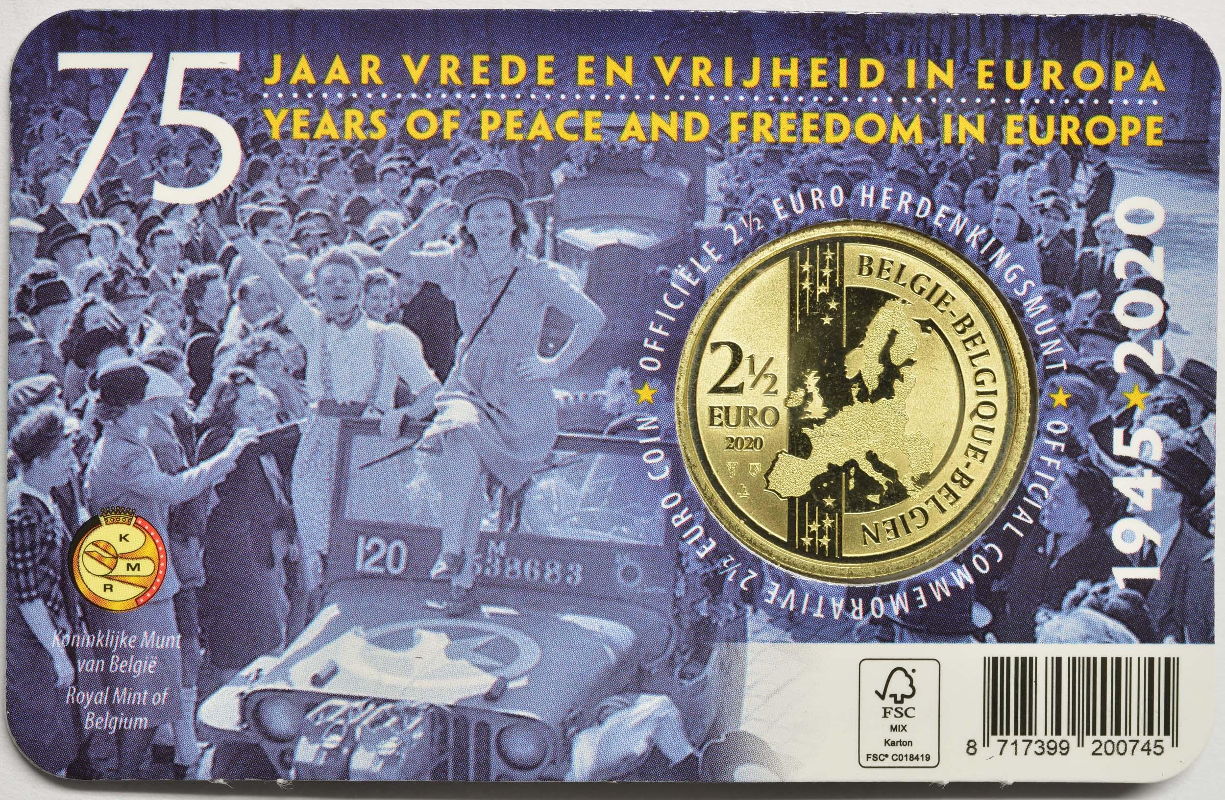 Zertifikat:Belgien : 2,5 Euro 75 Jahre Ende des 2. Weltkrieges FR-Version  2020 Stgl.