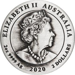 Vorderseite:Australien : 2 Dollar 75 Jahre Ende des 2. Weltkrieges Antikfinish  2020 Stgl.