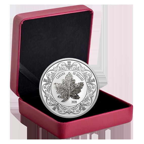 Lieferumfang:Kanada : 30 Dollar Maple Leaf Brooch Legacy mit Zirkonen+Kette 2 oz  2020 PP