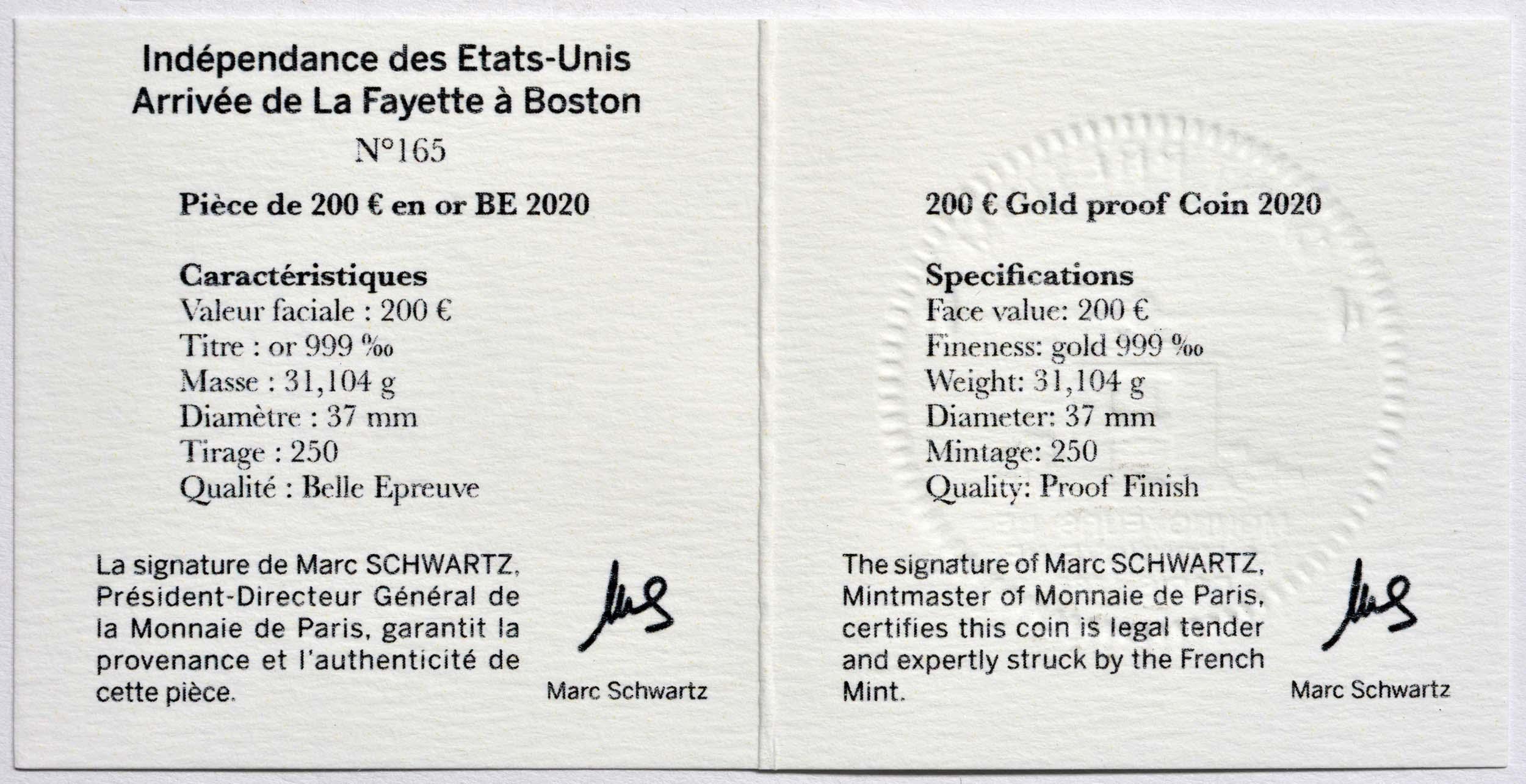Zertifikat:Frankreich : 200 Euro La Fayette  2020 PP
