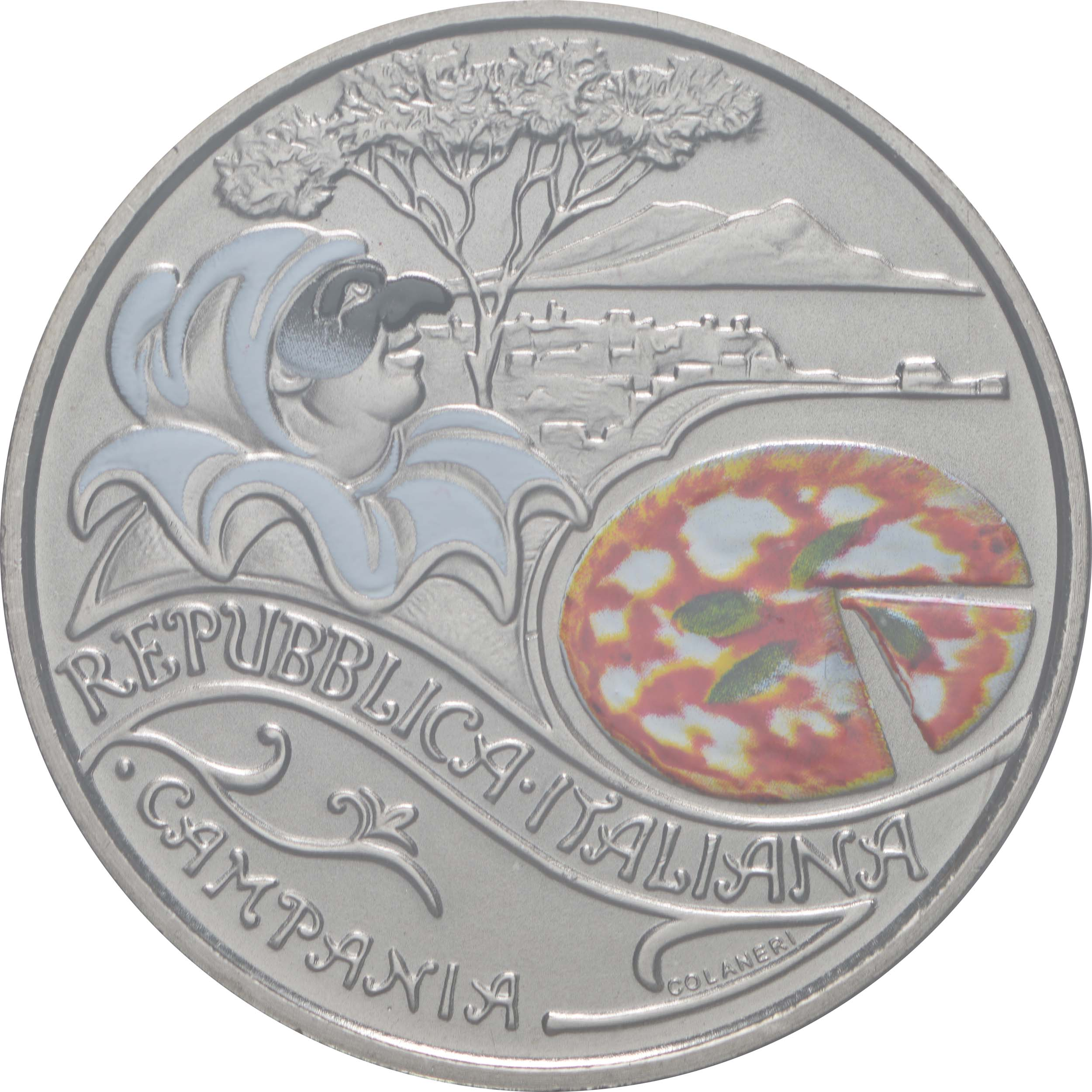 Vorderseite:Italien : 5 Euro Pizza #1 farbig  2020 Stgl.