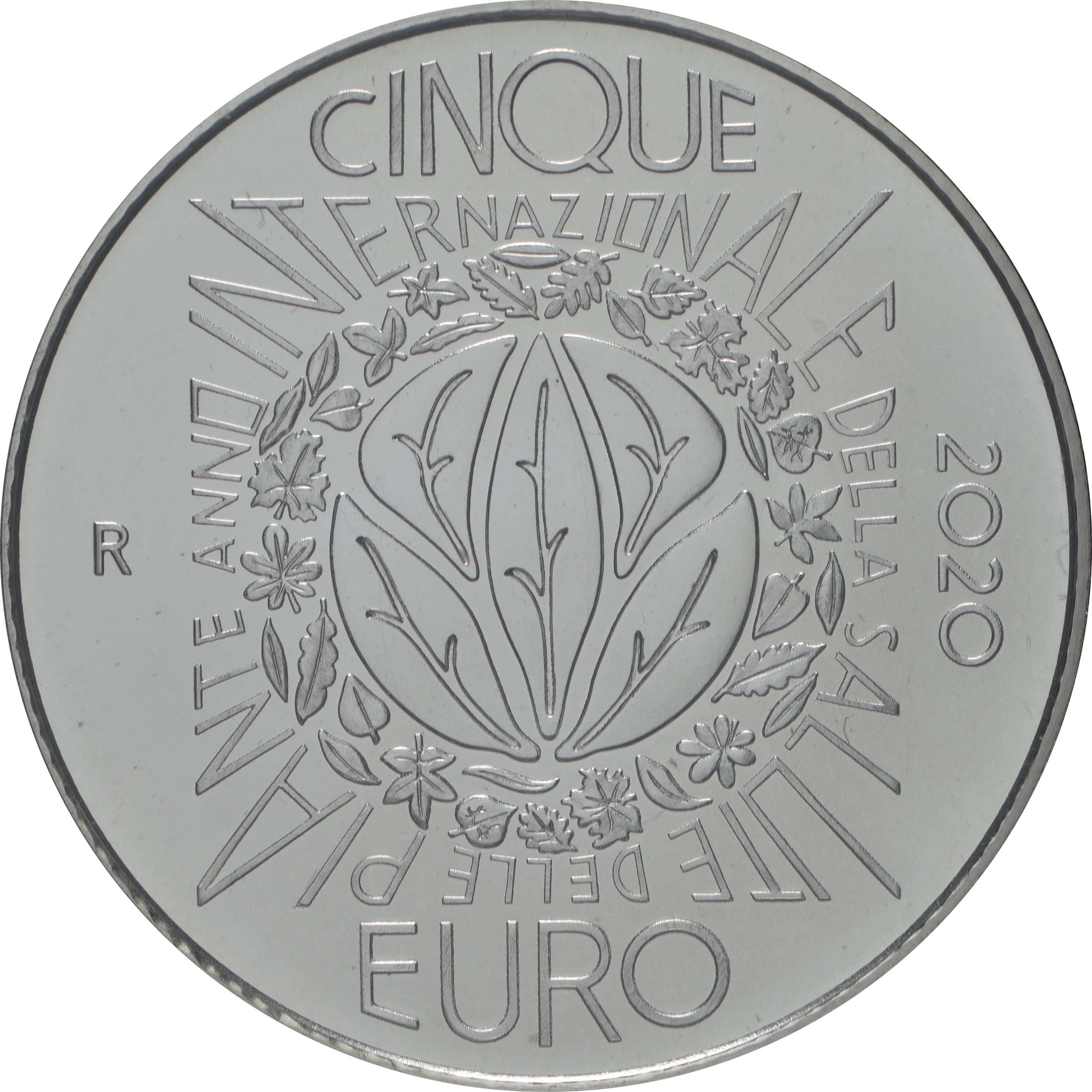 Rückseite:Italien : 8,88 Euro KMS Italien incl. 5 Euro Jahr der Pflanzengesundheit  2020 Stgl.