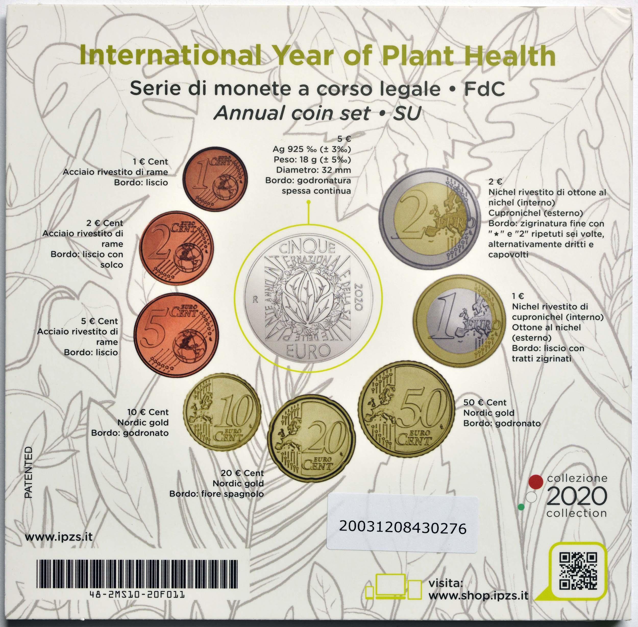 Zertifikat:Italien : 8,88 Euro KMS Italien incl. 5 Euro Jahr der Pflanzengesundheit  2020 Stgl.