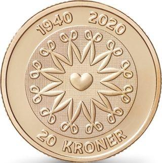 Vorderseite:Dänemark : 20 Kronen 80. Geb. Königin Margarethe  2020 bfr