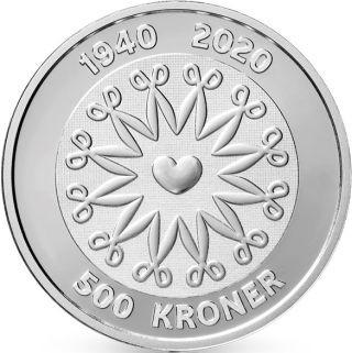 Vorderseite:Dänemark : 500 Kronen 80. Geb. Königin Margarethe  2020 Stgl.