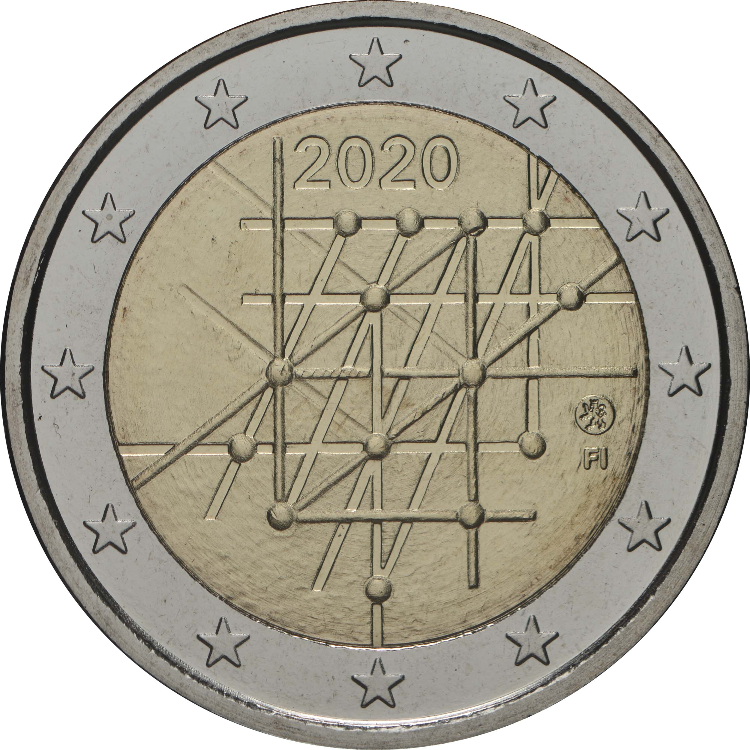 Rückseite:Finnland : 2 Euro Universität von Turku  2020 Stgl.