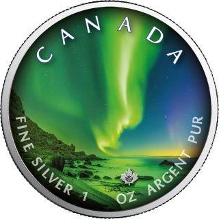 """Lieferumfang:Kanada : 5 Dollar Maple Leaf - Nordlichter """"Whitehorse"""" #6  2020 Stgl."""