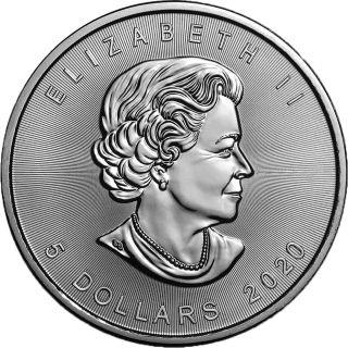 """Vorderseite:Kanada : 5 Dollar Maple Leaf - Nordlichter """"Whitehorse"""" #6  2020 Stgl."""