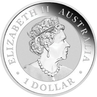 Rückseite:Australien : 1 Dollar Känguru - Perth Mint Variante vergoldet im Etui  2020 Stgl.