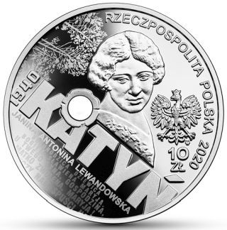 Rückseite:Polen : 10 Zloty Katyn - Palmiry 1940  2020 PP
