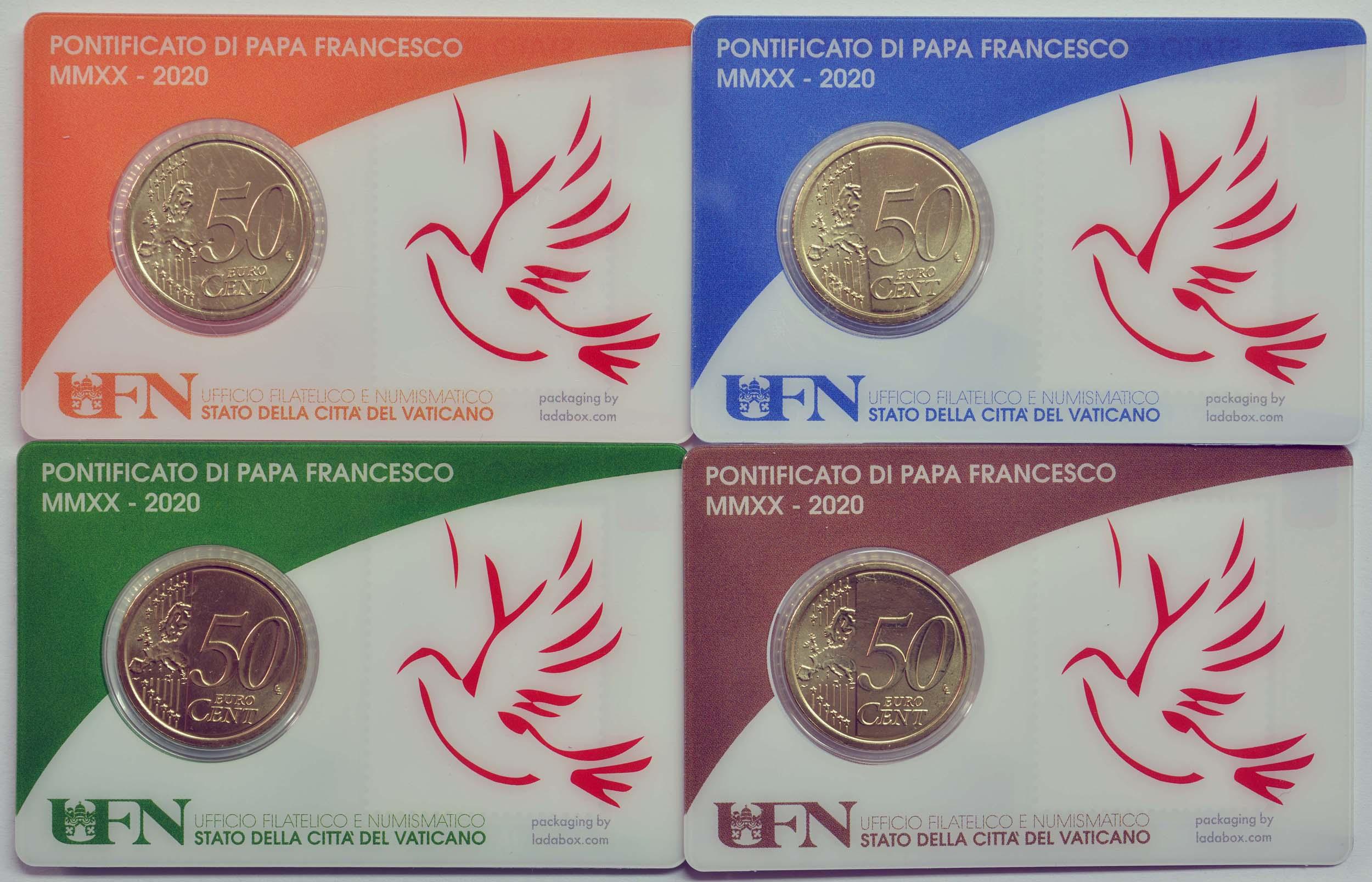 Zertifikat:Vatikan : 50 Cent 4x 50 Cent + Briefmarken  2020 bfr