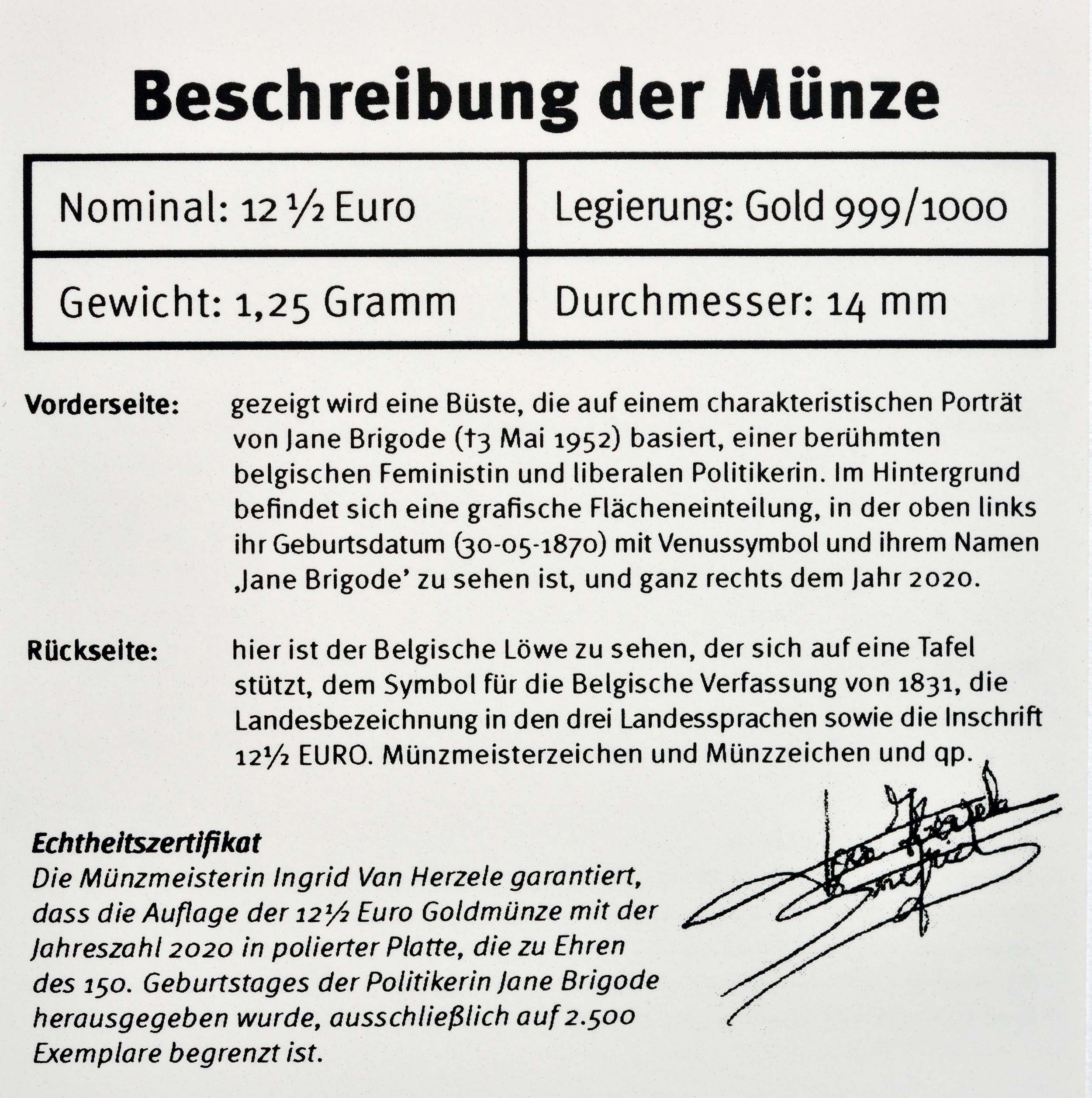 Zertifikat:Belgien : 12,5 Euro Jane Brigode  2020 PP