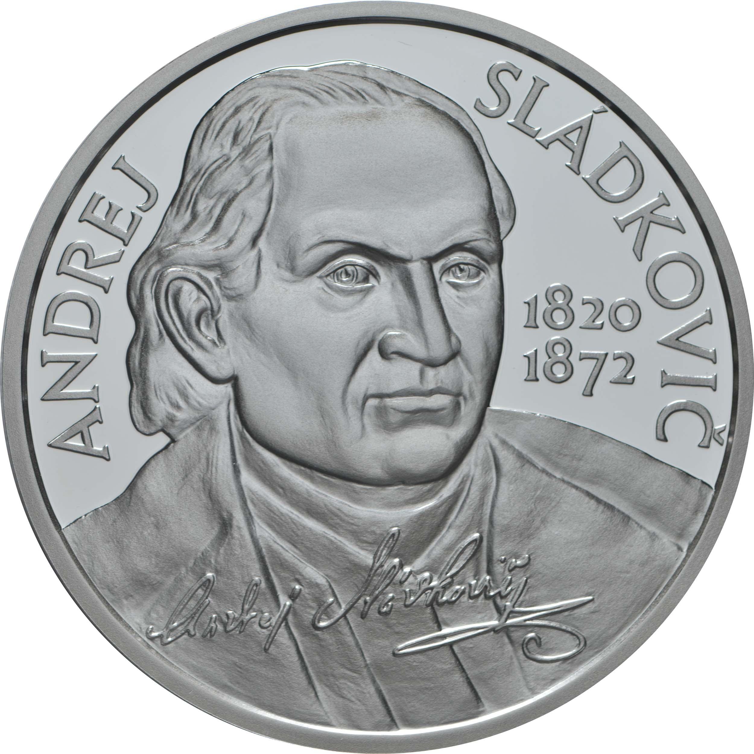Vorderseite:Slowakei : 10 Euro 200. Geb. Andrej Sladkovic (Schriftsteller)  2020 PP