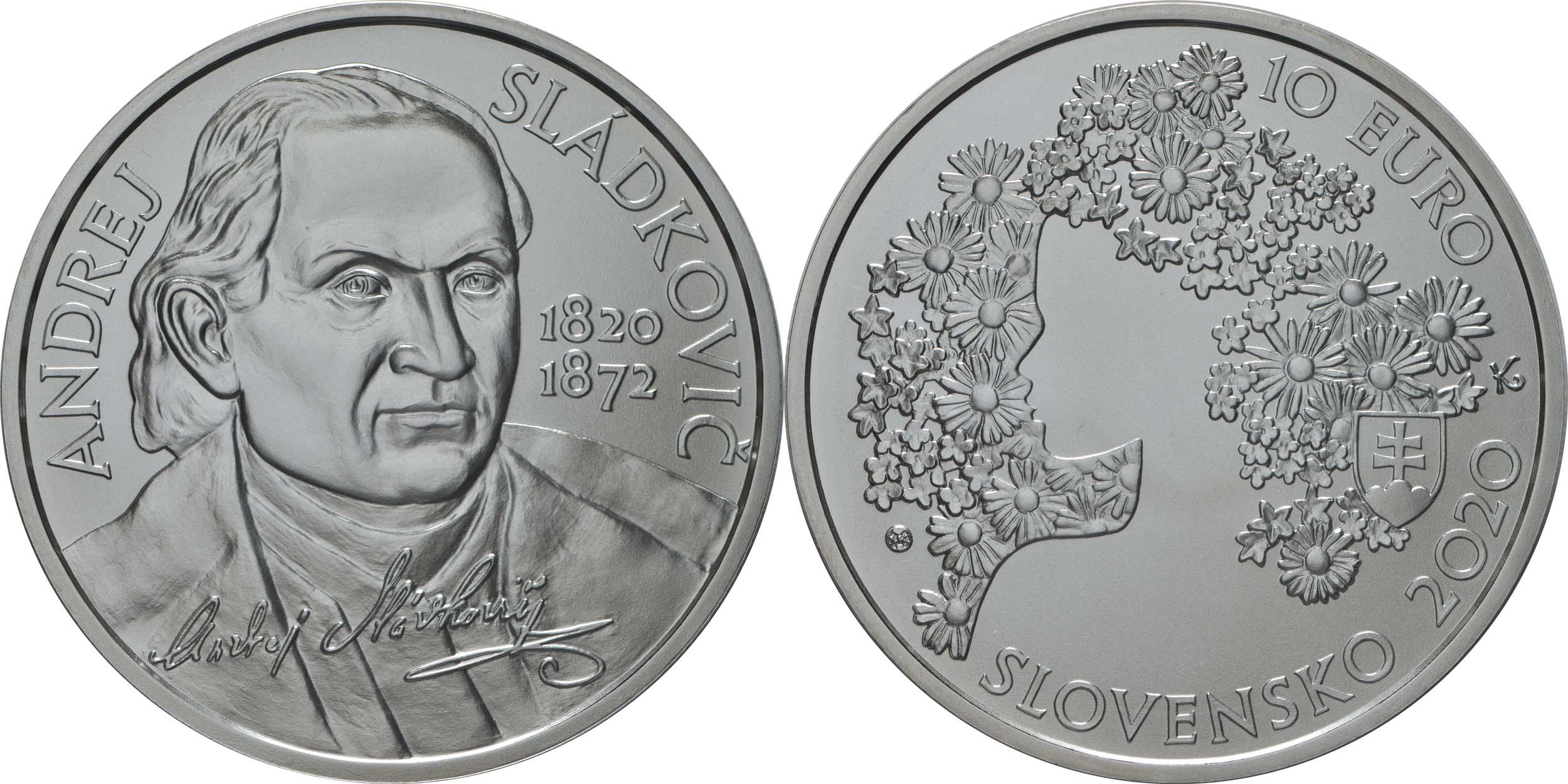 Lieferumfang:Slowakei : 10 Euro 200. Geb. Andrej Sladkovic (Schriftsteller)  2020 Stgl.