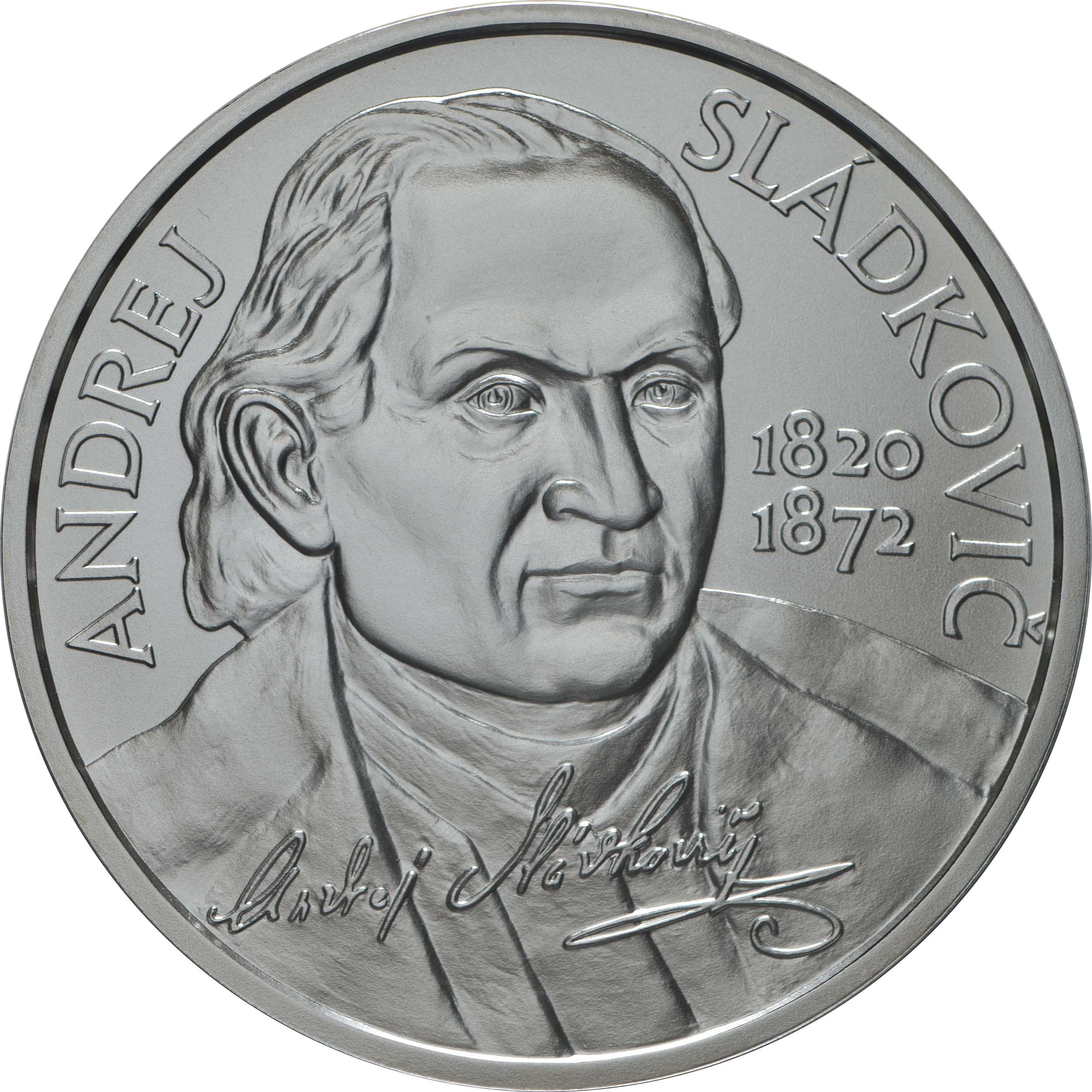 Vorderseite:Slowakei : 10 Euro 200. Geb. Andrej Sladkovic (Schriftsteller)  2020 Stgl.