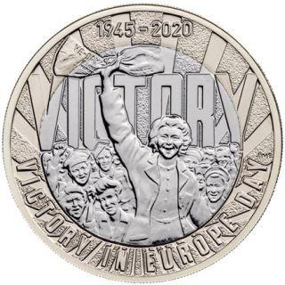 Vorderseite:Großbritannien : 2 Pfund 75. Jahre Ende WW2/VE Day - im Blister  2020 Stgl.