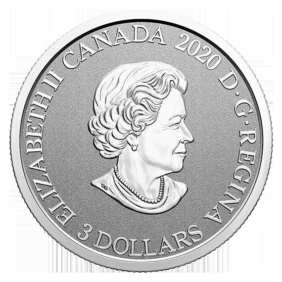 Rückseite:Kanada : 3 Dollar Präriekrokus/Manitoba - Wahrzeichen #5  2020 PP