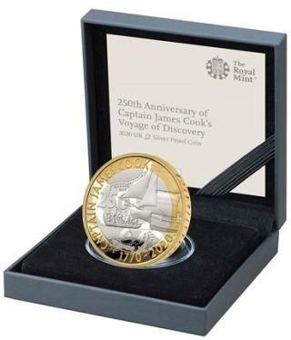 Lieferumfang:Großbritannien : 2 Pfund James Cook 3 - 250 J. Entdeckungsreise  2020 PP