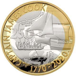 Vorderseite:Großbritannien : 2 Pfund James Cook 3 - 250 J. Entdeckungsreise  2020 PP