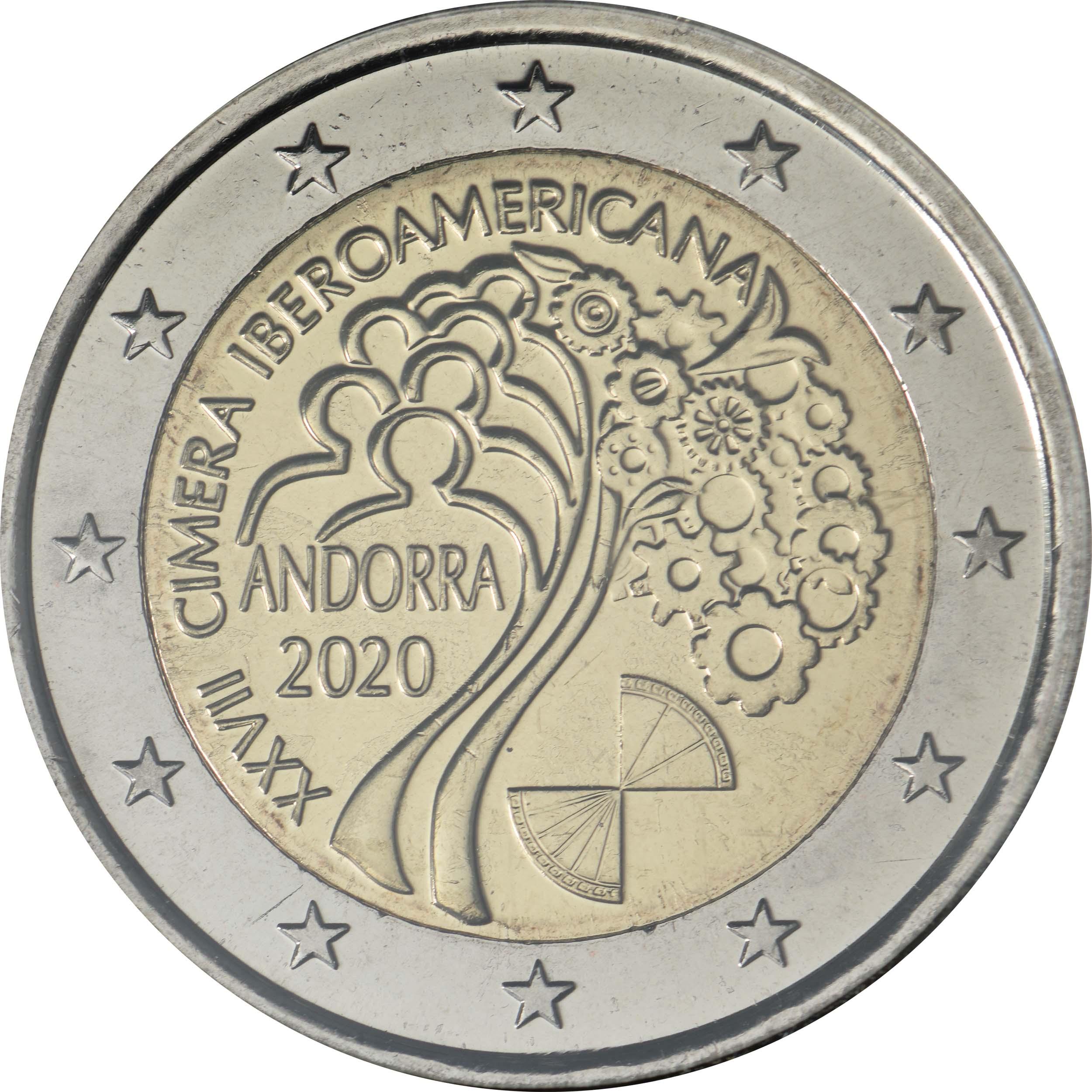 Rückseite:Andorra : 2 Euro 27. Iberoamerikanische Gipfeltreffen in Andorra  2020 bfr