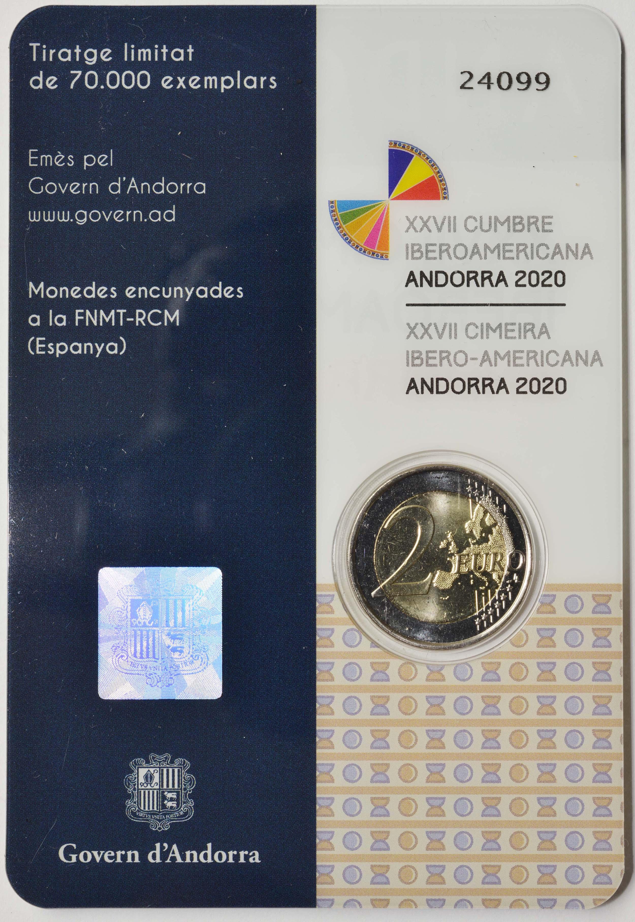 Zertifikat:Andorra : 2 Euro 27. Iberoamerikanische Gipfeltreffen in Andorra  2020 bfr