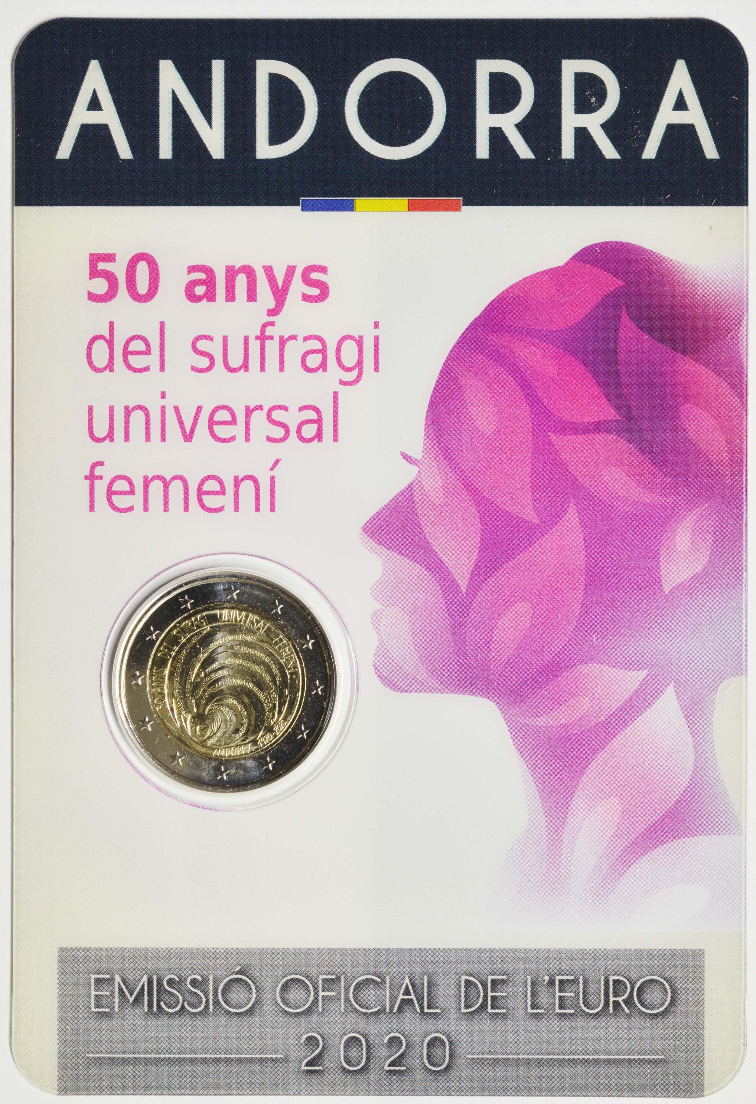 Lieferumfang:Andorra : 2 Euro 50 Jahre allgemeines Frauenwahlrecht in Andorra  2020 bfr