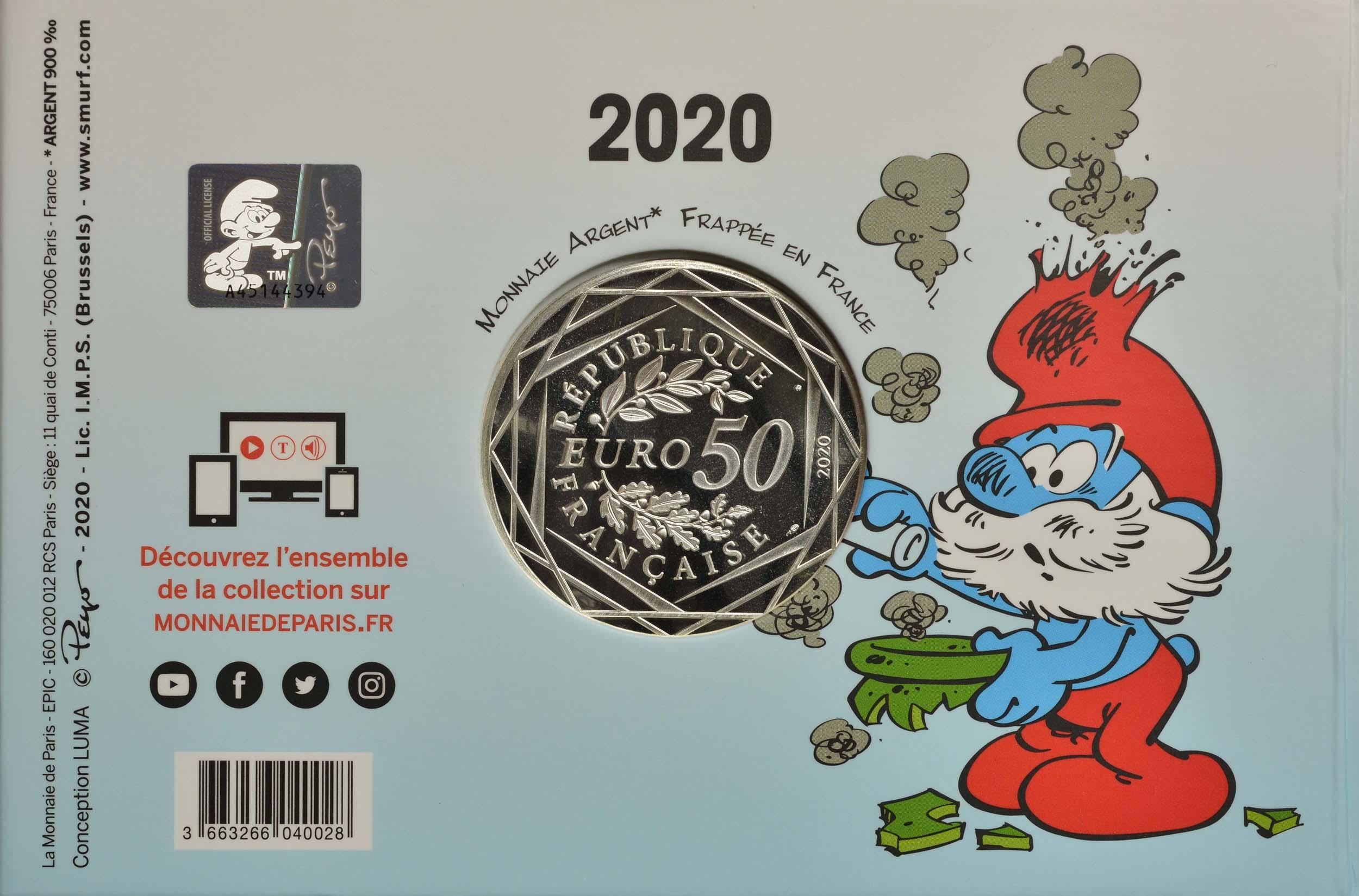 Rückseite:Frankreich : 50 Euro Papa Schlumpf  2020 Stgl.