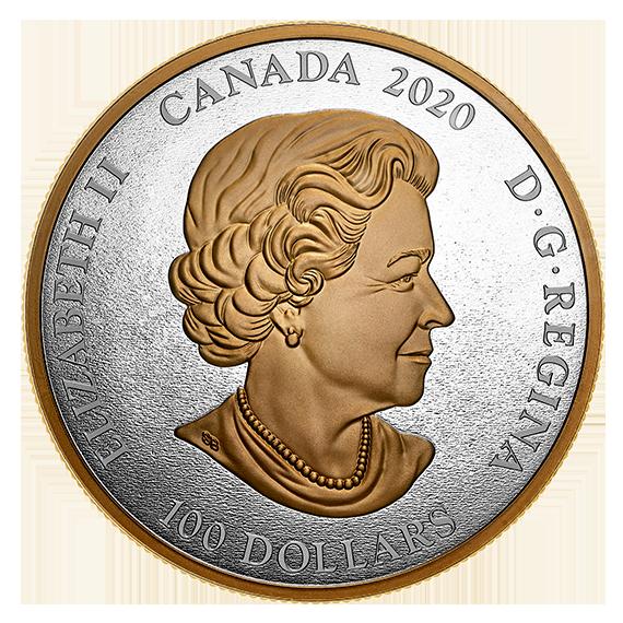 Rückseite:Kanada : 100 Dollar Archivschätze – Hist. Wappen Canadas  2020 Stgl.