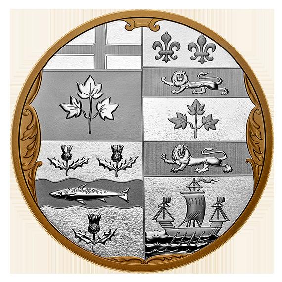 Vorderseite:Kanada : 100 Dollar Archivschätze – Hist. Wappen Canadas  2020 Stgl.